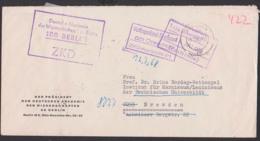 Berlin Deutsche Akademie Der Wissenschaften ZKD-Brief Mit Kontrolle Volkspolizeit-Kreisamt Dresden - Dienstpost