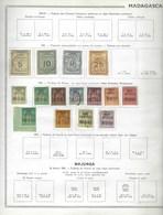 Colonie Française, Collection, Madagascar Sur Charnière, Quelques Oblitérés, Bonne Qualité * Feuille Thiaude * - Madagascar (1889-1960)