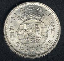 Macao, 5 Patacas 1952, Silber, UNC - Macau
