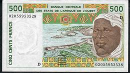 W.A.S. P410Dl 500 FRANCS (20)02 Date = 2002    XF - West African States