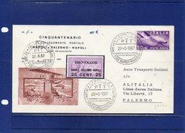 ##(DAN196)-Italia 1967-Aerogramma Volo Napoli-Palermo-Cinquantenario 1° Collegamento Postale - 6. 1946-.. Repubblica