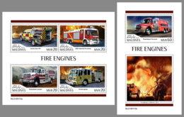 MALDIVES 2019 MNH Fire Engines Feuerwehr Fahrzeuge Camions De Pompiers M/S+S/S - OFFICIAL ISSUE - DH1920 - Sapeurs-Pompiers