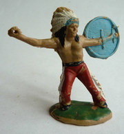 FIGURINE REAMSA INDIEN BOUCLIER ET ? 1:32 Pas Jecsan Cherilea STARLUX CLAIRET, OUGEN, CYRNOS, ELASTOLIN - Leger