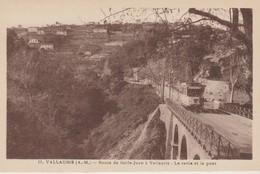 C.P.A. - VALLAURIS - ROUTE DE GOLFE JUAN A VALLAURIS - LE RAVIN ET LE PONT - 11 - MUNIER - TRAM - Vallauris