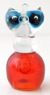 Muránói Fújt Cica Figura, Több Rétegű, Jelzés Nélkül ,alján Nagyon Apró Csorbákkal, M: 14,5 Cm - Glass & Crystal