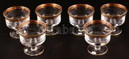 Dekoratív Talpas Pohár Készlet (6 Db), Jelzés Nélkül, Apró Karcolásokkal, Aranyozott Peremmel, M: 10,5 Cm - Glass & Crystal