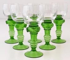 Jelzett (Eisch) Borospohár ( 6db), Hibátlan, Csiszolt, M: 18  Cm (6×) - Glass & Crystal