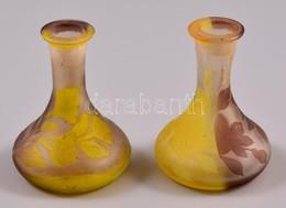 Gallé Stílusú Mini Váza Párban, Savmaratott, Peremén Apró Karcolásokkal, Jelzés Nélkül, M:7 Cm (2×) - Glass & Crystal