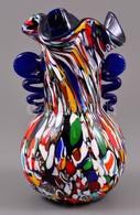 Muránói Millefioris Fújt Váza, Több Rétegű, Jelzés Nélkül, Kis Karcolásokkal, M:23 Cm - Glass & Crystal