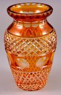 Csiszolt ólomkristály Váza, Több Rétegű, Jelzett, Nagyon Apró Csorbával, M:21,5 Cm - Glass & Crystal