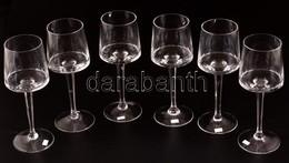 Talpas Kristály Borospohár (6 Db), Jelzés Nélkül, Hibátlan, M:18 Cm (6×) - Glass & Crystal