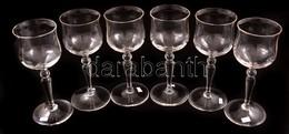 Talpas Borospohár (6 Db), Jelzés Nélkül, Hibátlan, M:15,5 Cm (6×) - Glass & Crystal
