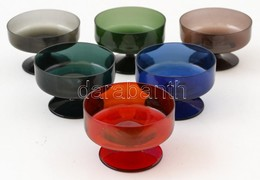 Színes Fújt Talpas Likőrős Poharak ( 6 Db), Hibátlanok, Jelzés Nélkül, M:4,5 Cm (6×) - Glass & Crystal