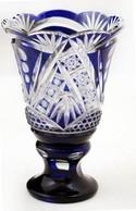 Ólomkristály Váza és Kehely, Apró Csorbákkal, Csiszolt, Metszet, M:15 és 16 Cm - Glass & Crystal