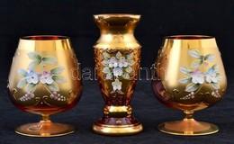3 Db Aranyozott, Virágmintás Díszítésű üvegpohár, Mini Váza, Minimális Kopásnyomokkal, 10 és 11 Cm - Glass & Crystal