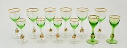 Zöld-arany Színű 6 Db Likőrös és 6 Db Pezsgős Pohár, Hibátlanok - Glass & Crystal