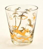 Kézzel Aranyozott Kis üvegpohár, Jelzett, Kopásokkal, D: 6,5 Cm - Glass & Crystal