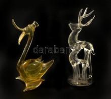 2 Db üveg Szarvas és 1 Db Kacsa, Kis Kopásnyomokkal, M: 7,5 és 11 Cm Között - Glass & Crystal