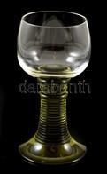 Zöld Talpas üvegpohár, Kis Karcolásokkal, M: 13,5 Cm - Glass & Crystal
