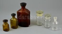 Gyógyszertári üvegek, 6 Db, Különböző Méretekben, Apró Csorbákkal - Glass & Crystal