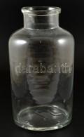 8 Literes Régi Hutaüveg, Apró Csorbákkal, Kopásokkal, M: 36 Cm - Glass & Crystal