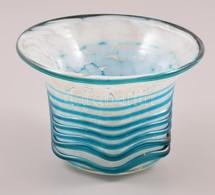 Mdina Váza, Plasztikus Rátéttel, Több Rétegű, Jelzett, Hibátlan, M:8 Cm - Glass & Crystal