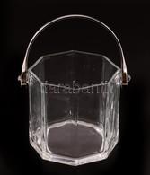 Üveg Jégtartó, Fém Füllel, Kopásnyomokkal, M: 12 Cm, D: 12 Cm - Glass & Crystal