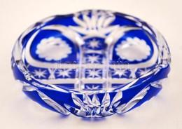 Kék Színű Metszett, Csiszolt üveg Hamutálka, Apró Csorbával, D: 10,5 Cm - Glass & Crystal