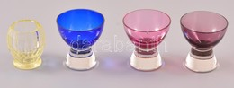 4 Db üveg Pohár Apró Csorbával, M: 6 és 7 Cm - Glass & Crystal