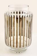 Retró Csíkos Váza, Formába Fújt, Jelzés Nélkül, Hibátlan, M: 23 Cm - Glass & Crystal