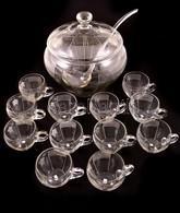 Puncsos Készlet, Csiszolt Kristály, Apró Csorbával, Merővel és 12 Db Csészével, M:26 Cm Kb 5 Liter - Glass & Crystal