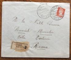 FASCISMO RACCOMANDATA A DONNA RACHELE   MUSSOLINI  DA FIRENZE 4/2/39 A VILLA TARLONIA ROMA - Historische Documenten
