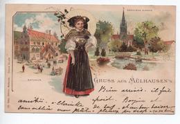 GRUSS AUS MULHAUSEN (68) - GENOVEVA KIRCHE - RATHAUS - ALSACIENNE -  COSTUME ALSACIEN FOLKLORIQUE - Mulhouse