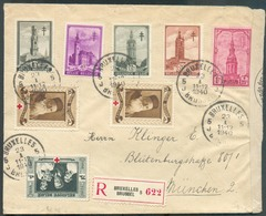 Affr. BEFFROIS Et CROIX-ROUGE à 3Fr50  Obl. Sc BRUXELLES 5 Sur Lettre Recommandée 23-I-1940 Vers München + Bande De Cens - Lettres & Documents