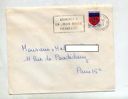 Lettre Flamme Paris  127 Adherez Croix Rouge - Postmark Collection (Covers)