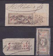 FRANCE : VARIETES . N° 33a, 80a ET 1 SURCHARGE MANUSCRITE D'UN RECEVEUR DE BORDEAUX . 40 Cent SUR 20 Cent . - Revenue Stamps