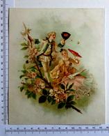 CHROMO    LITHOGRAPHIE CARTONNÉE....GRAND FORMAT...COUPLE ROMANTIQUE ...OMBRELLE ..ÉVENTAIL ...PAPILLONS - Vieux Papiers