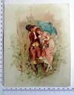 CHROMO    LITHOGRAPHIE CARTONNÉE....GRAND FORMAT...COUPLE ROMANTIQUE SOUS LA PLUIE...PARAPLUIE - Old Paper