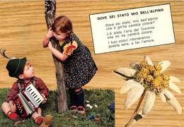 """3697 """"DOVE SEI STATO MIO BELL'ALPINO"""" CANTI DELLA MONTAGNA-BAMBINI CON FISARMONICA CART. POST. OR. NON SPED. - Musica"""