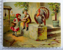 CHROMO    LITHOGRAPHIE ....GRAND FORMAT...JEUNES ENFANTS APPROCHANT UN DINDON - Old Paper