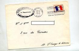 Lettre Flamme Angers Caisse Epargne Sur Drapeau Franchise Militaire + Ecole Genie - Postmark Collection (Covers)