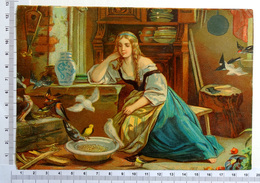 CHROMO    LITHOGRAPHIE ....GRAND FORMAT...JEUNE FEMMES DONNANT DES GRAINES AUX OISEAUX - Old Paper