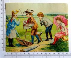 CHROMO    LITHOGRAPHIE ....GRAND FORMAT...ENFANTS ...ATELIER DE PEINTURE A LA CAMPAGNE - Old Paper