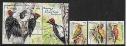 WOODPECKERS- 2013 MALAYSIA- COMPLETE SET  With M/S ( With Intaglio Printing)- MNH Set - Specht- & Bartvögel
