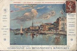 CAD Maritime Octogonal Marseille à La Réunion 1° LU N°3 15 Mars 09 CPA Cie Messageries Maritimes Zanzibar Semeuse Camée - Schiffspost