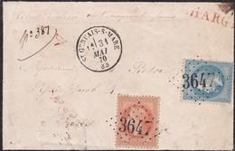 France - Y&T 29 Et 31 Sur Lettre Oblitération GC 3647 - St-Gervais-sur-Mare - Hérault - Marcofilie (losse Zegels)