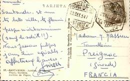 ESPAGNE - Affranchissement De Santander  Sur Carte Postale En 1954 Pour La France -  L 29588 - 1951-60 Cartas