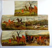 4 CHROMOS    LITHOGRAPHIES ....GRAND FORMAT...SCÈNES DE CHASSE A COURRE - Vieux Papiers