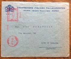FASCISMO E SPORT  FEDERAZIONE ITALIANA PALLACANESTRO BUSTA CON ANNULLO ROSSO A TARGHETTA  ROMA STADIO P.N.F. 27/11/33 - Historical Documents