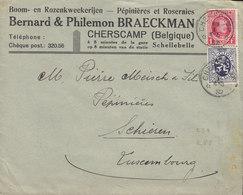Belgium BERNARD & PHILEMON BRAECKMAN, CHERCAMP 1932 Cover Lettre SCHIEREN Ettelbrück (Arr.Cds.) Luxemburg - Belgien